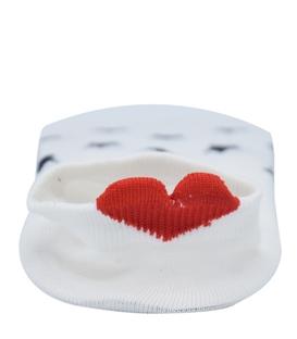 جوراب قوزکی پشت قلب دار طرح ستاره سفید سرمهای
