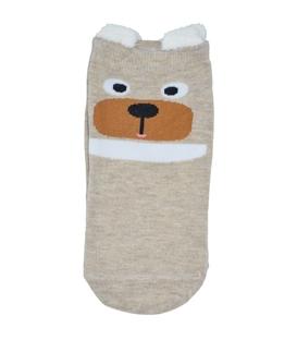 جوراب قوزکی گوشدار طرح خرس متعجب کرم