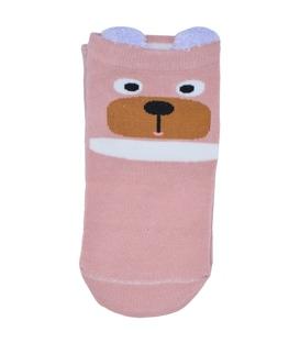 جوراب قوزکی گوشدار طرح خرس متعجب صورتی