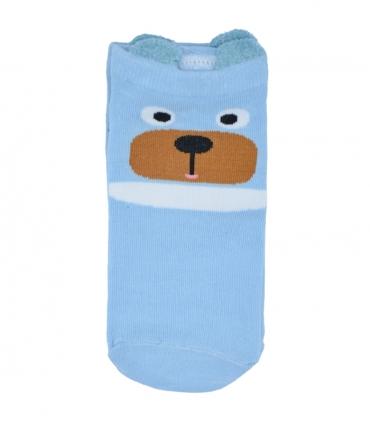 جوراب قوزکی گوشدار طرح خرس متعجب آبی
