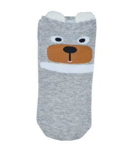 جوراب قوزکی گوشدار طرح خرس متعجب خاکستری