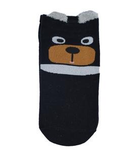 جوراب قوزکی گوشدار طرح خرس متعجب مشکی