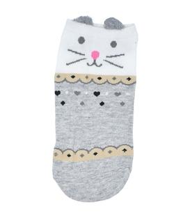 جوراب قوزکی گوشدار طرح گربه خاکستری