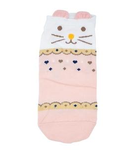 جوراب قوزکی گوشدار طرح گربه طرح دار گلبهی