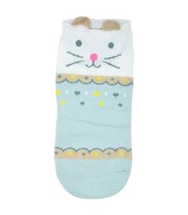 جوراب قوزکی گوشدار طرح گربه طرح دار نعنایی
