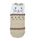 جوراب قوزکی گوشدار طرح گربه طرح دار کرم