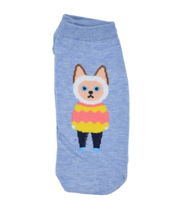 جوراب قوزکی طرح گربه دانش آموز آبی