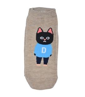 جوراب قوزکی طرح گربه دانش آموز قهوهای