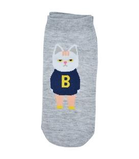 جوراب قوزکی طرح گربه دانش آموز خاکستری