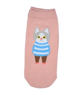 جوراب قوزکی طرح گربه دانش آموز صورتی