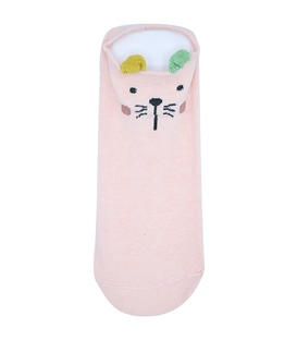 جوراب گوشدار قوزکی طرح گربه صورتی