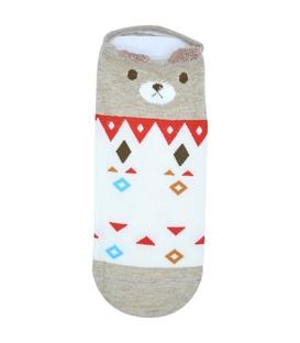 جوراب گوشدار قوزکی طرح خرس هندسی شیری