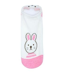 جوراب گوشدار قوزکی طرح خرگوش و گربه شیری