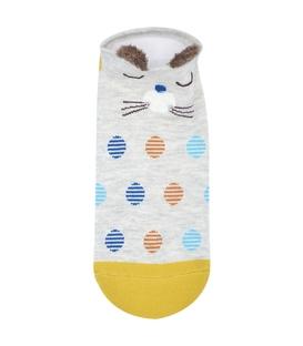 جوراب گوشدار قوزکی طرح گربه خوابالو خال خالی خاکستری