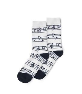 جوراب ساق دار نانو پاتریس طرح نت موسیقی سفید