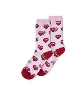 جوراب ساقدار نانو پاتریس طرح قلب کادویی صورتی