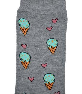جوراب ساق دار داینو ساکس طرح بستنی خاکستری