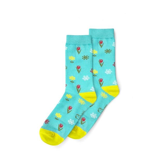 جوراب نانو ساق دار پاتریس طرح گل بهاری سبزآبی