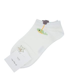 جوراب قوزکی گوشدار طرح موبی دیک سفید