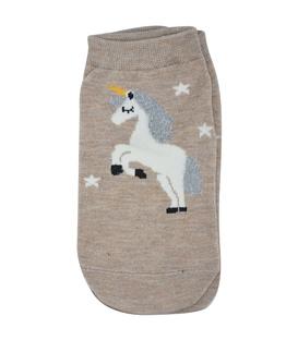 جوراب قوزکی طرح تکشاخ و ستاره قهوهای