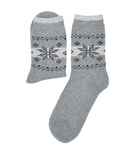 جوراب پشمی Coco & Hana طرح برف هندسی خاکستری