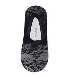 جوراب کالج دور ژلهای کف استپدار طرح گل توری مشکی