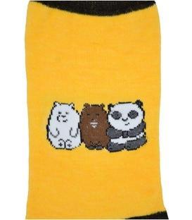 جوراب نانو ساق دار پاآرا طرح پاندا و دوستان زرد
