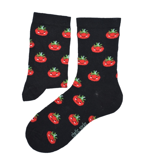 جوراب ساق دار Chetic طرح گوجه فرنگی مشکی