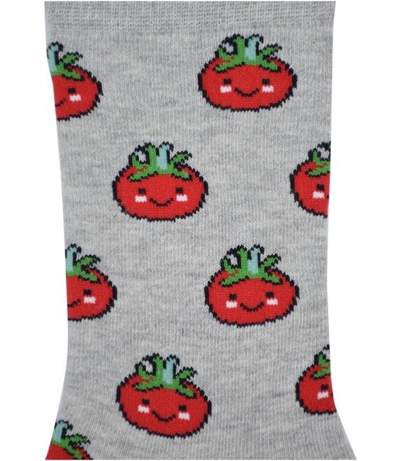 جوراب ساق دار Chetic طرح گوجه فرنگی خاکستری