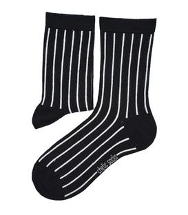 جوراب ساق دار Chetic چتیک طرح راه راه عمودی مشکی سفید