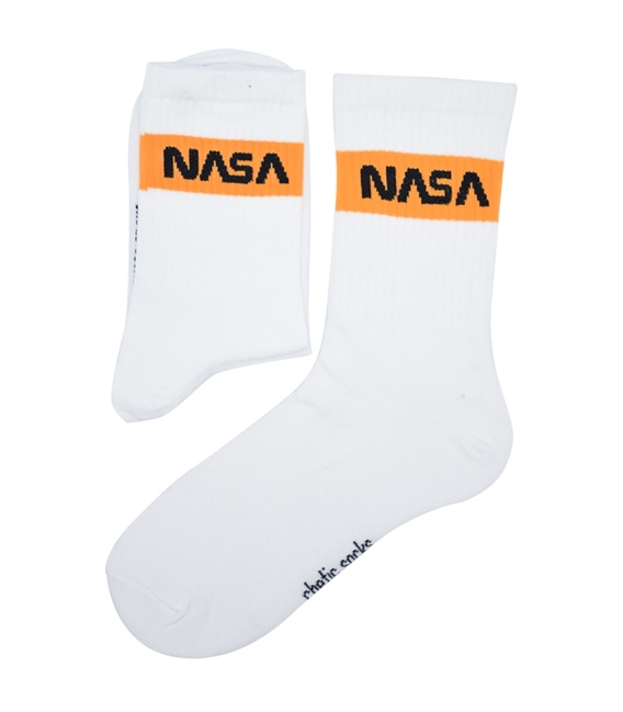 جوراب ساق دار Chetic طرح Nasa سفید نارنجی