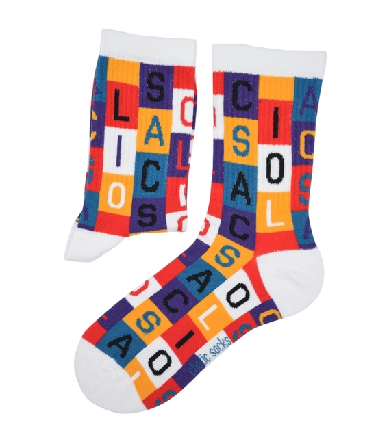 جوراب ساق دار Chetic طرح ABCD رنگارنگ