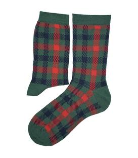 جوراب ساق دار Chetic چتیک طرح چهارخونه سبز