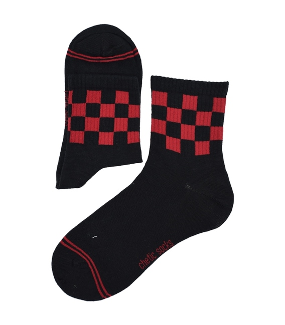 جوراب نیم ساق Chetic طرح نیمه شطرنجی مشکی قرمز