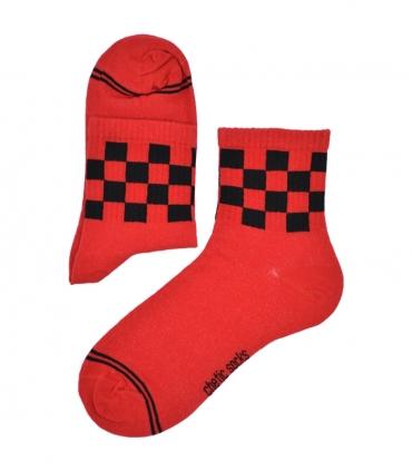جوراب نیم ساق Chetic طرح نیمه شطرنجی قرمز مشکی