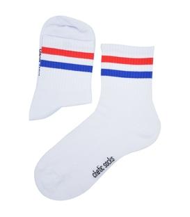 جوراب نیم ساق Chetic طرح دو خط سفید قرمز آبی