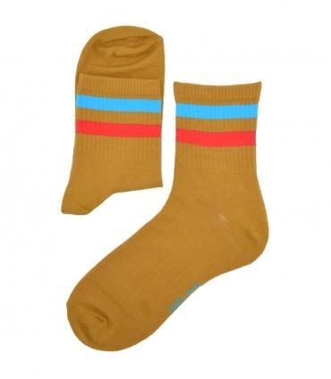جوراب نیم ساق Chetic طرح دو خط قهوهای آبی قرمز