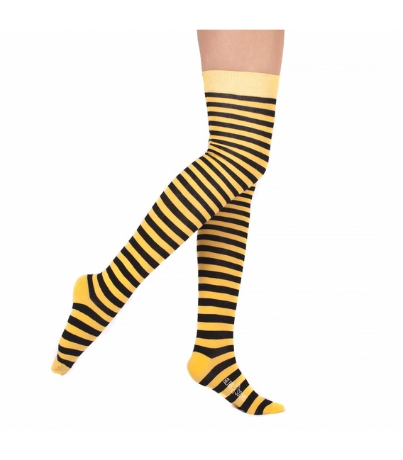 جوراب بالای زانو Conoro طرح راه راه مشکی زرد