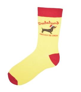 جوراب ساق دار Chetic چتیک طرح سگ سوسیسی زرد