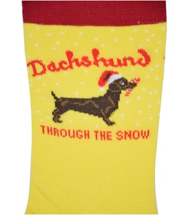 جوراب ساق دار Chetic طرح سگ سوسیسی زرد