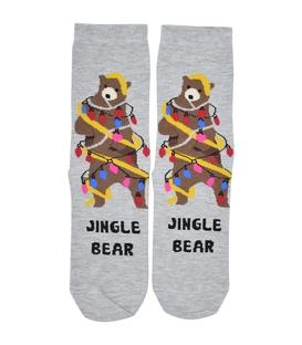 جوراب ساق دار Chetic چتیک طرح Jingle Bear خاکستری