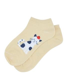 جوراب قوزکی طرح گربه و سیب