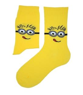 جوراب ساق دار بوم طرح مینیون زرد