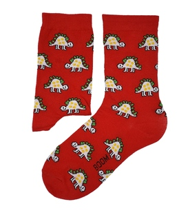 جوراب ساق دار بوم طرح دایناسور قرمز