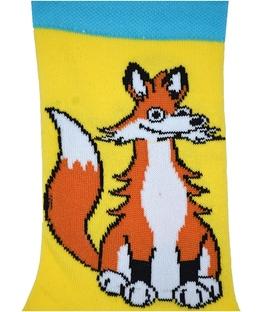 جوراب ساق دار بوم طرح روباه زیرک زرد آبی
