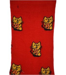 جوراب ساق دار بوم طرح گربه قرمز