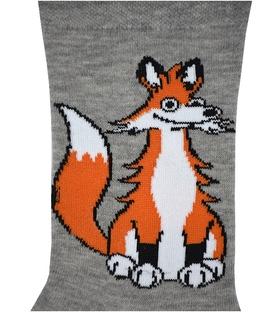 جوراب ساق دار بوم طرح روباه زیرک خاکستری