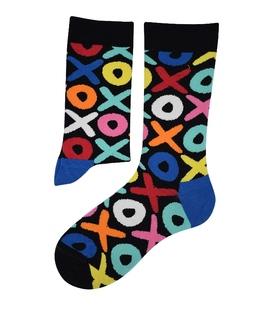 جوراب ساقدار هپی و مپی طرح XO مشکی