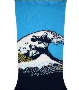 جوراب ساق دار هپی و مپی طرح موج خروشان سرمهای آبی
