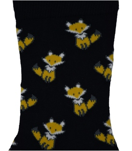 جوراب ساق دار Chetic طرح روباه کوچولو مشکی